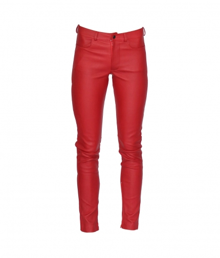 ZOE LEATHER PANT - RED one view
