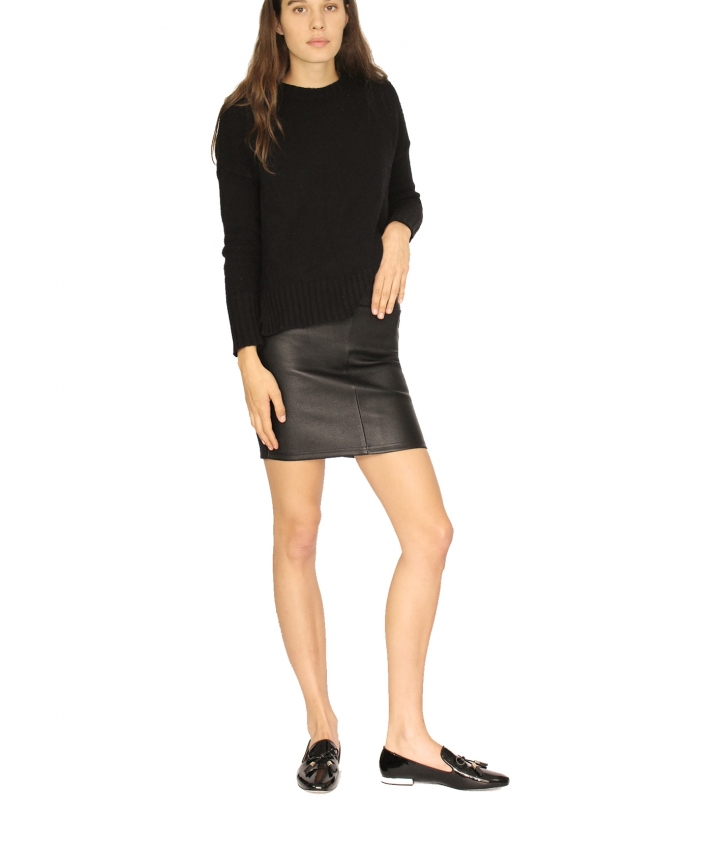 CHER MINI LEATHER SKIRT - BLACK four view
