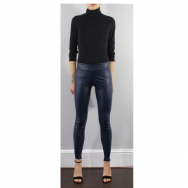 BLUE REAL STRETCH LEATHER LEGGINGS WITH COVERED ELASTIC WAIST two view