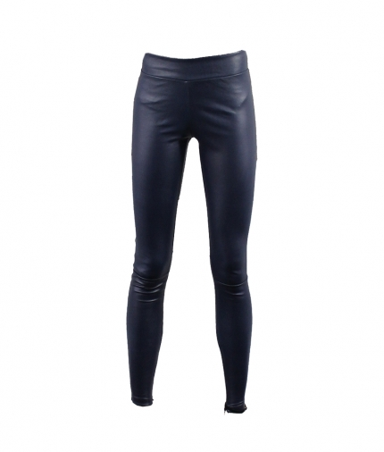 BLUE REAL STRETCH LEATHER LEGGINGS WITH COVERED ELASTIC WAIST one view