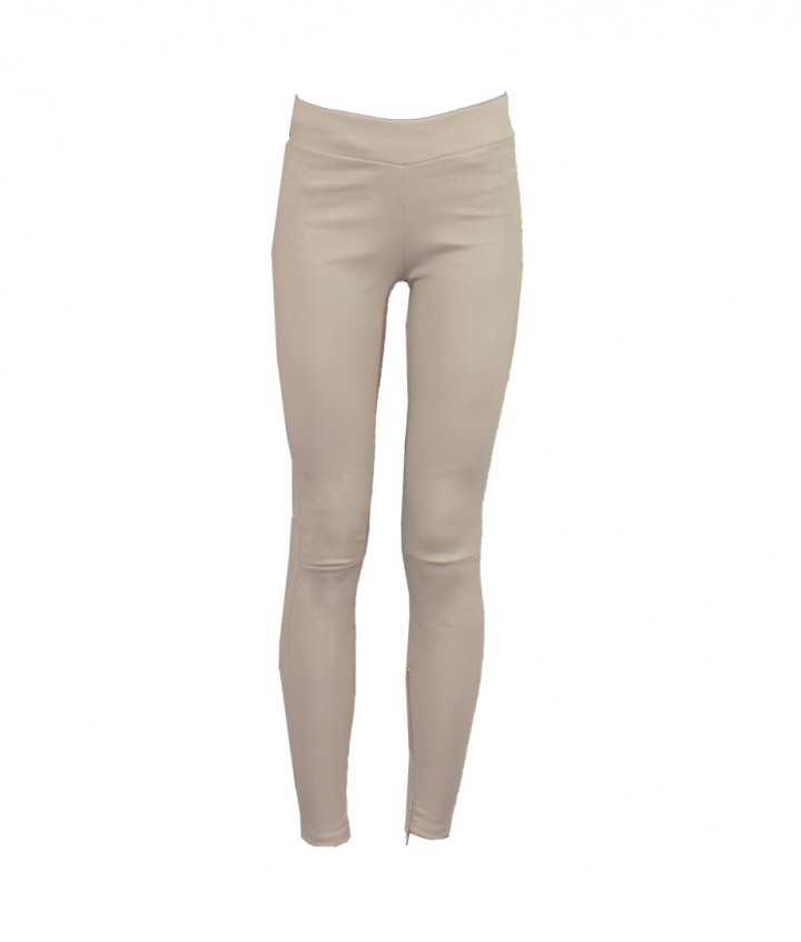 LOLA BEIGE LEATHER LEGGINGS one view