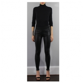 ELASTIC WAIST BLACK  STRETCH LEATHER two view