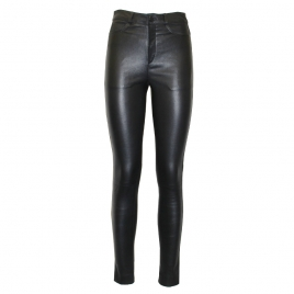 MIA HIGH WAIST LEATHER PANTS - BLACK