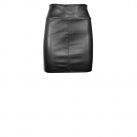 CHER MINI LEATHER SKIRT - BLACK