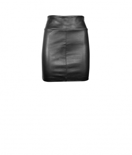 CHER MINI LEATHER SKIRT - BLACK one view