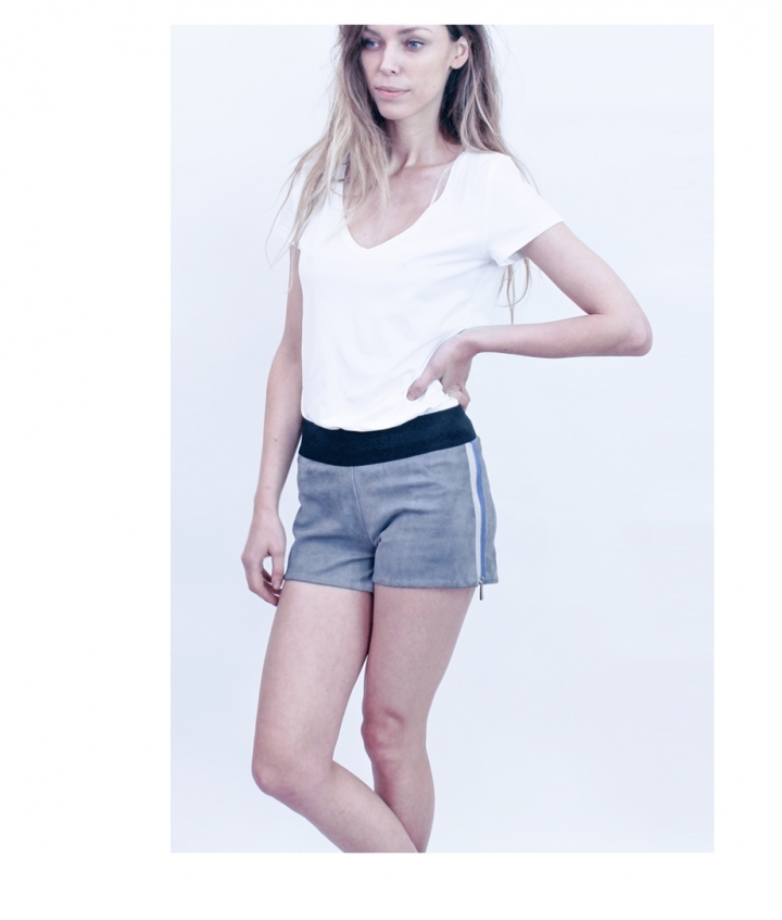 STRETCH SUEDE SHORTS CONTRAST ZIPS two view
