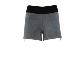 STRETCH SUEDE SHORTS CONTRAST ZIPS