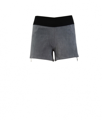 STRETCH SUEDE SHORTS CONTRAST ZIPS one view
