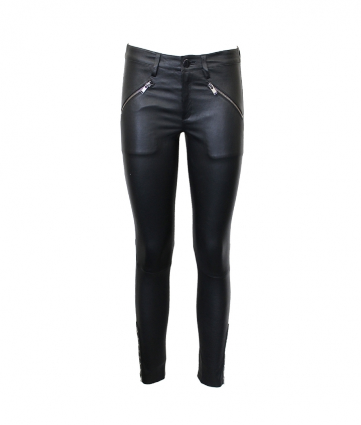 JEAN STYLE STRETCH LEATHER WITH FRONT ZIPS AND STUDDS ON HEM one view