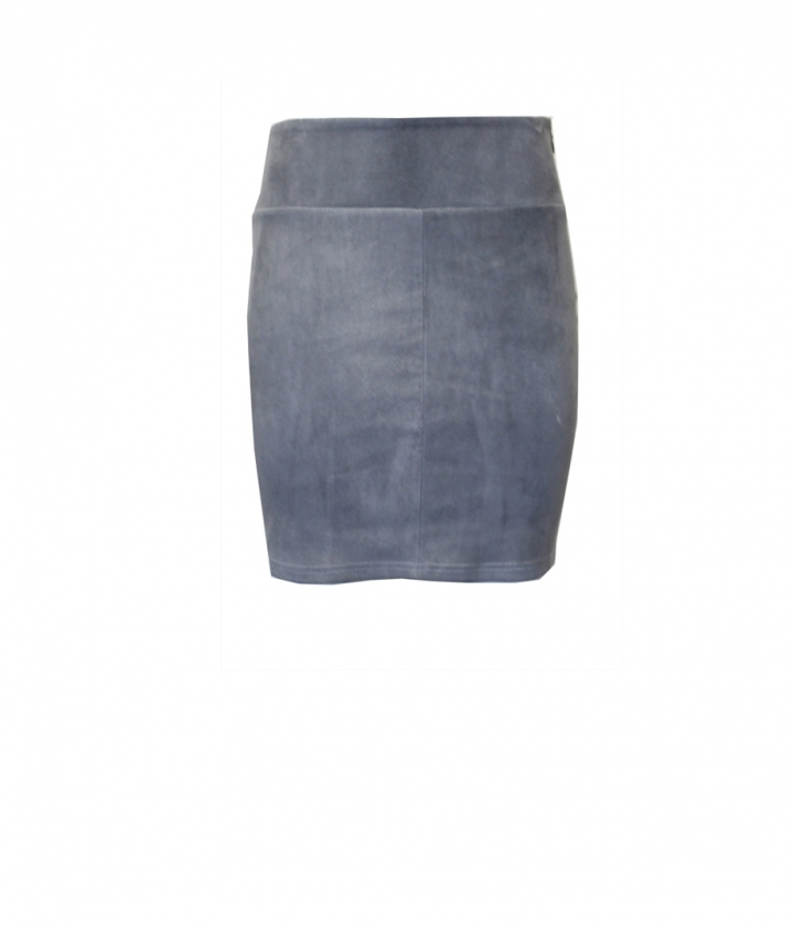 STRETCH SUEDE GREY SKIRT one view