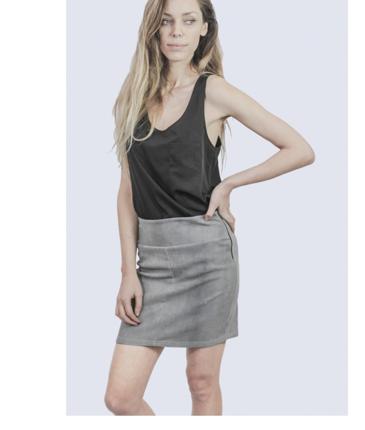 STRETCH SUEDE GREY SKIRT two view