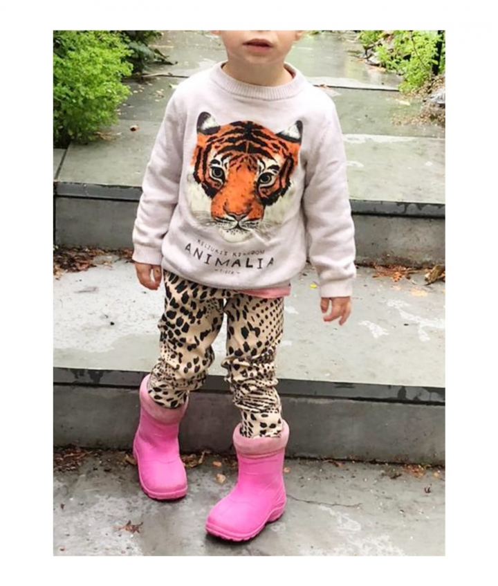 KIDS SUEDE LEGGINGS - LEO PINK two view