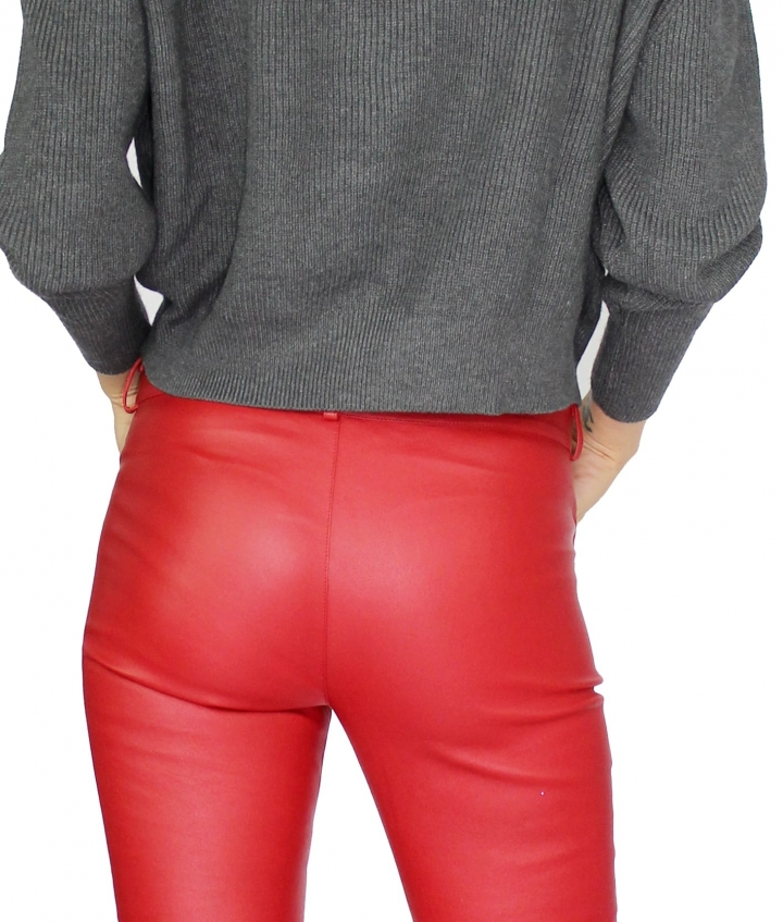 ZOE LEATHER PANT - RED five view
