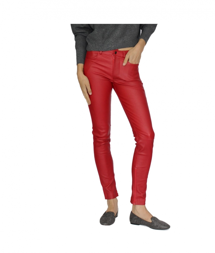 ZOE LEATHER PANT - RED four view