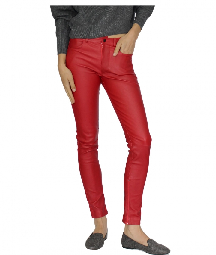 ZOE LEATHER PANT - RED three view
