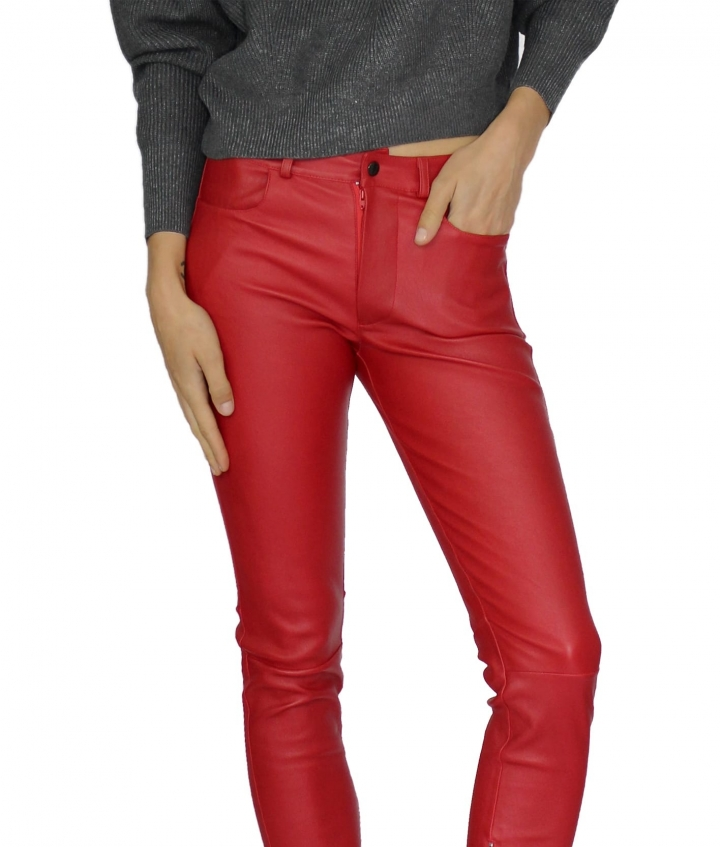 ZOE LEATHER PANT - RED two view