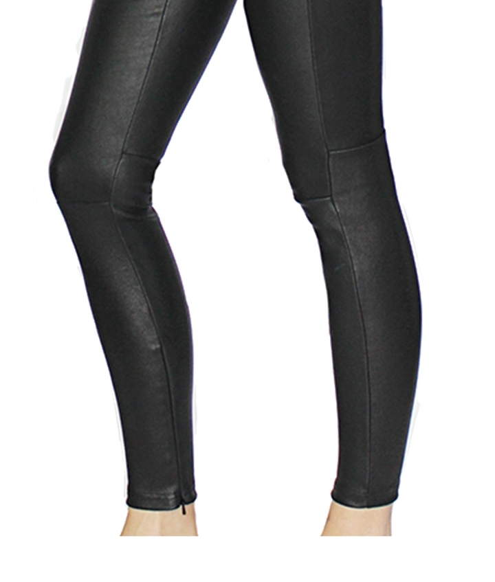 HALLE HIGH LEATHER LEGGINGS- BLACK five view