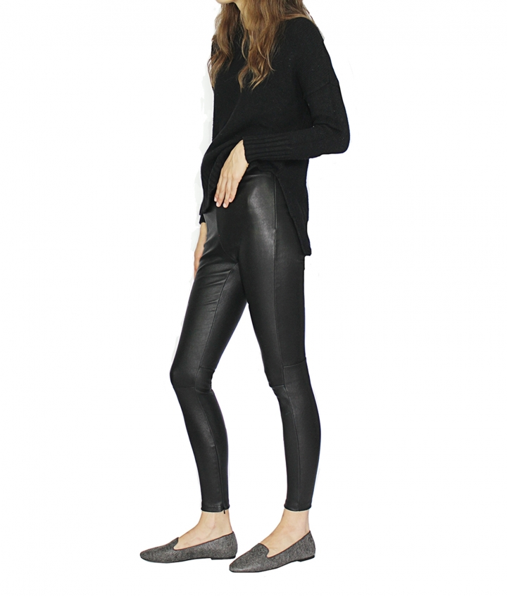 Halle High Waist Leather Leggings four view