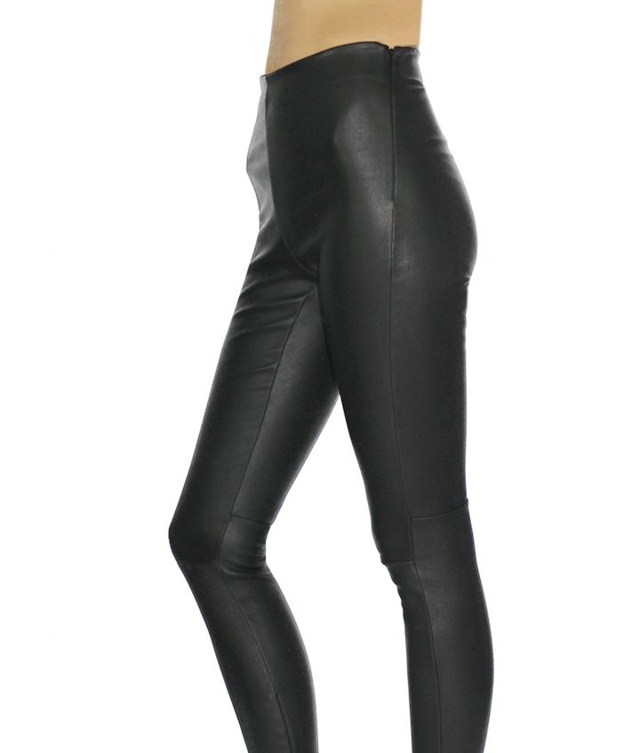 HALLE HIGH LEATHER LEGGINGS- BLACK six view