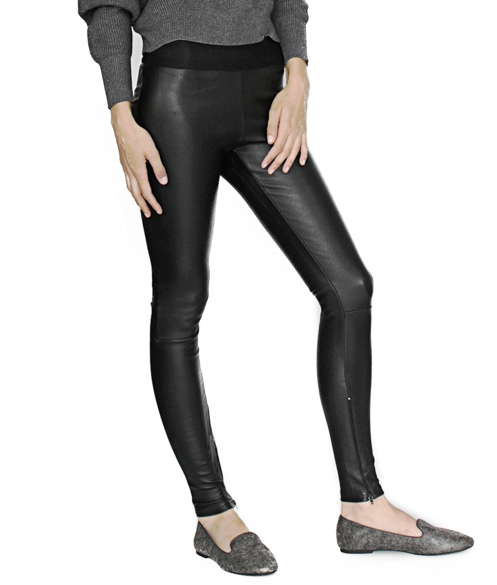 LUNA LEATHER LEGGING ELASTIC WAIST two view