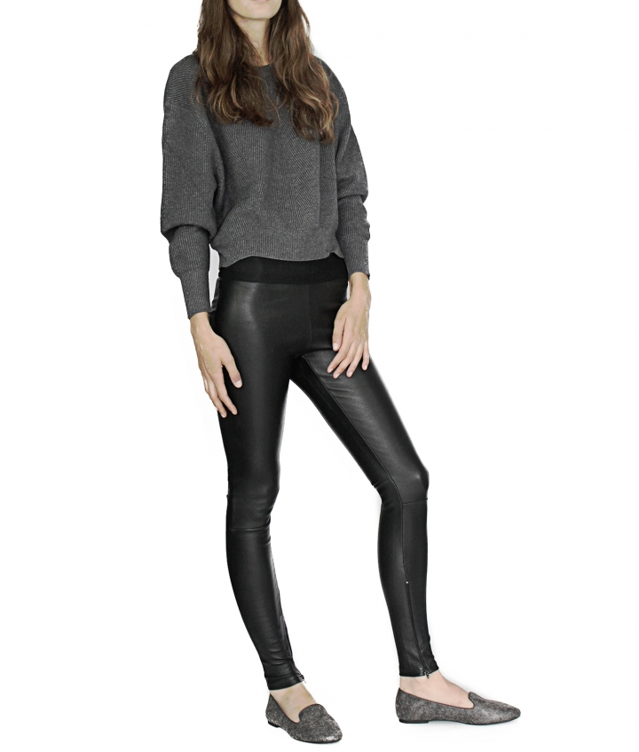 LUNA LEATHER LEGGING - BLACK four view