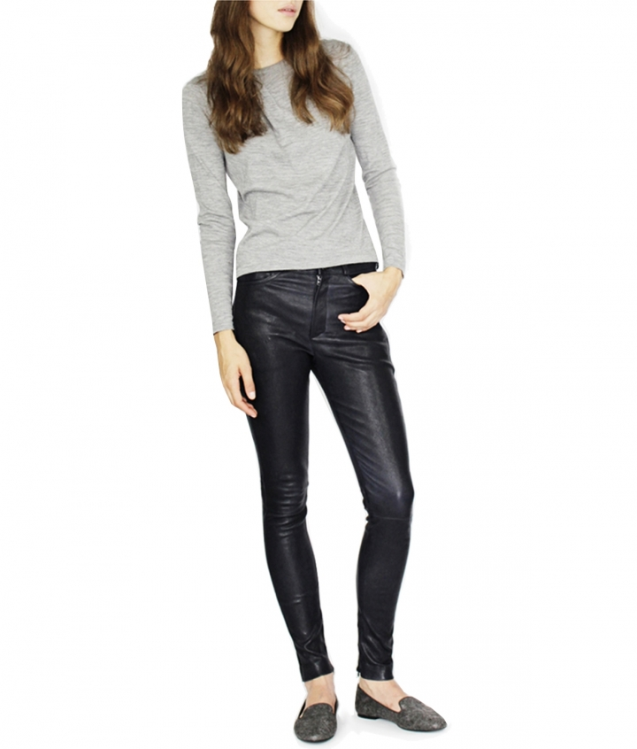 MIA HIGH WAIST LEATHER PANTS three view