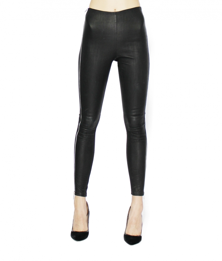 TINA HIGH LEATHER LEGGINGS - BLACK three view